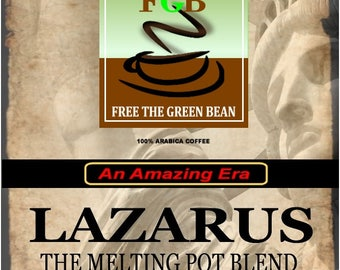 "Whole bean, fresh roasted LAZARUS Flavored Coffee, ""An all-American salute to three scrumptious flavors"" 12oz (350g)"