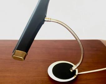 Mid Century Modern Small Black and Brass Piano Lamp Retro Gooseneck Desk Lamp