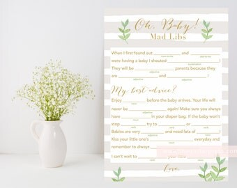Neutral baby shower mad libs Printable, oh baby mad libs, funny baby shower game, leafy green, beige neutral stripe, INSTANT DOWNLOAD 012