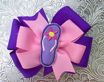 Flip Flop Summer Pinwheel bow