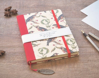 Hardcover Notebook, A5 Journal or Sketchbook, Lined Notebook, Diary or Organizer, Writing Journal, Goldfinch