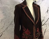 Vintage Style Coats, Jackets, Faux Fur, Tweed Gorgeous Brown Cotton Velvet Embroidered Gypsy Bavarian Jacket US size 6 Amazing Piping Upscale Boho Chic $62.00 AT vintagedancer.com