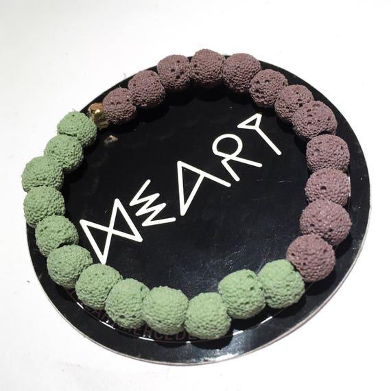 Eclipse Two Tone Purple & Green Raw Lava Stone Oil Diffuser Beaded Bracelet, Aroma Therapy, Mala, Yoga, Meditation, Unisex, Men, Women