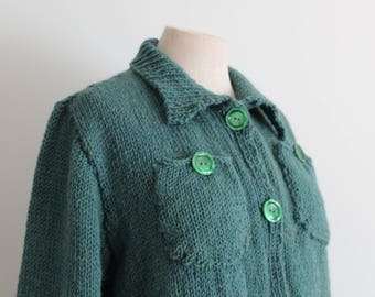 Green Wool Hand Knitted 1940s Sweater Lumber Jacket