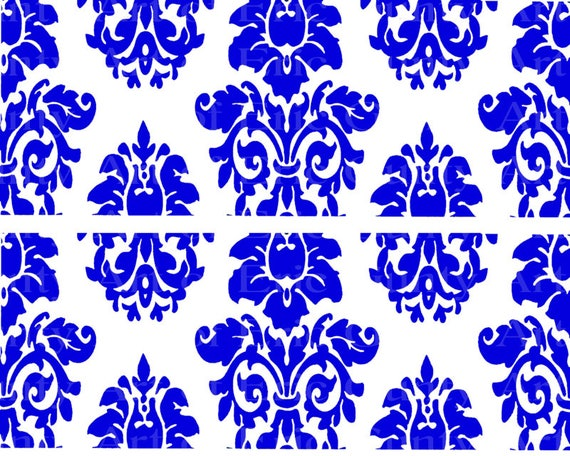 Blue Damask Birthday - Edible Cake Side Toppers- Decorate The Sides of Your Cake! - D22852