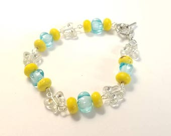 Yellow and Blue Crystal Butterfly Charm Toggle Bracelet