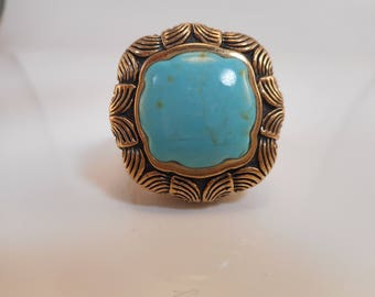 Vintage Barse Bronze Chunky Turquoise Ring with Floral Motif Size 11 3/4