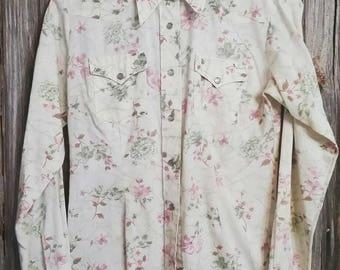 Vintage H Bar C Ladies Floral Pearl Snap Western Shirt