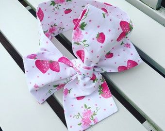 Baby or Girl's Headwrap Big Bow Cotton Headband headbow turban hair accessories in pink white green strawberry fabric 100% soft cotton