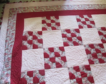 """Pink and Red handmade quilt in Bow tie pattern, hand quilted, with prairie points 100"""" x 90"""""""
