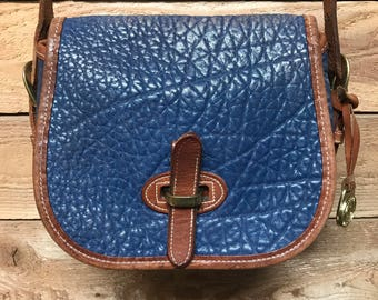 Vintage Dooney & Bourke Small Crossbody Over Under Bag Vtg Periwinkle Blue Leather Satchel Made in USA