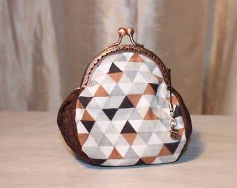 Purse RETRO triangles checkered cotton