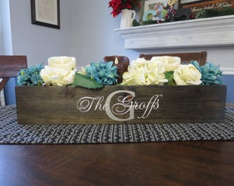 Customized wooden box centerpiece with handles