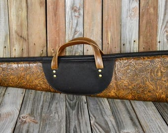 Embossed Tooled Leather Shotgun Case TS-122