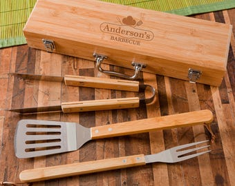 Personalized BBQ Grilling Set with Bamboo Case - BBQ Grilling Tools - Dads - Groomsmen Gift