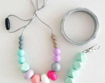 Silicone Teething Necklace PASTEL  -  GIFT SET