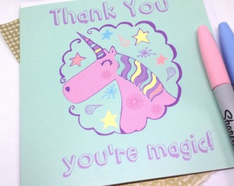 Unicorn Thank You Card, Thank You You're Magic Quote, Teacher Appreciation Card, Rainbow Unicorn Greetings, Friend Card, Pastel Unicorn Card