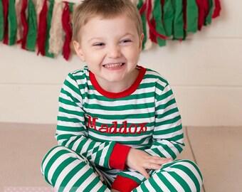 Christmas Pajama, Green And White Stripe, Red Trim, Pajamas, Striped Pajamas, Infant Romper, Monogramed, Personalized Pajamas, Green
