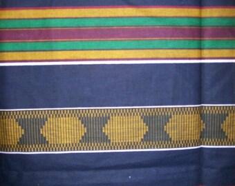 Navy Blue Kente print African fabric per yard / African textiles/ African prints/ kente cloth fabrics/ Kente Stole fabric