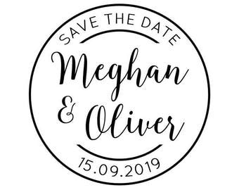 "Round Save the Date stamp, personalised rubber stamp, wedding stationery, round favours stamp, 1.8""x1.8"" (cts203)"