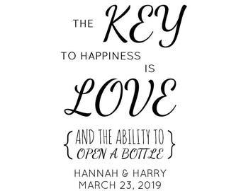 "Key To Happiness Stamp, Custom Wedding Stamp, Wedding Favor Stamp, Key to Happiness, Thank You, 1.8""x2.5"" (cts232)"