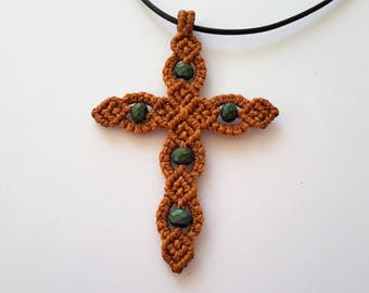 Macrame Cross, Cross Pendant, Christian Cross, Micromacrame