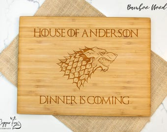 Father's day gift game of thrones cutting board, gift for dad, dinner is coming grill gift, wooden cutting board father's day - 052