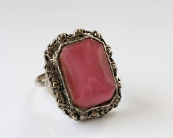 Large Pink Antique Silver Ring - Statement Square Ring