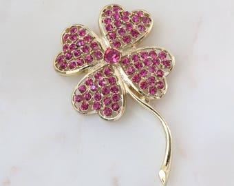 Sparkly Purple Crystal flower Brooch - large Flower Brooch - Purple Brooch - Floral Gold Brooch