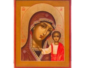 Handpainted Russian Orthodox Icon Virgin Mary Kazan, Byzantine Wedding Icon, Christian Home Decor, Religious Art, Orthodox Christian Gifts