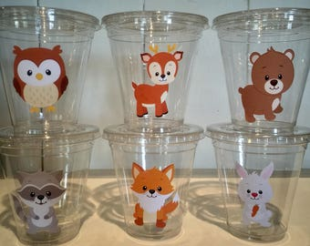 Woodlands 12 oz party cups with lids, birthday, baby shower, first birthday