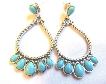 Vintage Navajo Indian Turquoise Sterling Silver 925 Post Hoop Earrings-Signed R