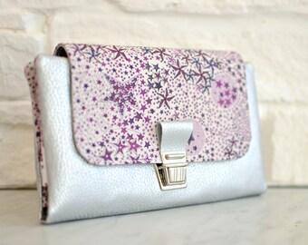 Portefeuille femme complet, portefeuille en Liberty Adelajda, 3 couleurs possible, porte-monnaie, cartes, chéquier, papiers