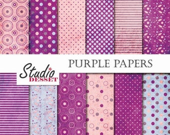 SUMMER SALE - 55% OFF Purple Digital Papers, Flower Backgrounds, Floral Paper pack for Scrapbooking, Grunge Papers Invites, Cards, Pink Polk
