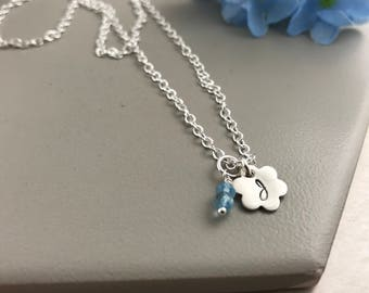 Aquamarine Initial Necklace, March Birthstone Necklace, Personalised Necklace, Aquamarine Necklace, Birthstone Necklace, Sterling Silver