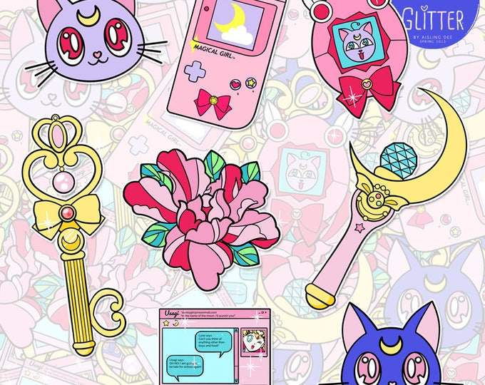 Featured listing image: Fight Like a Girl V2, Sailor Moon style Sticker Pack