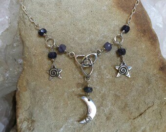 Sterling Silver Diamond set Triskel necklace spaced with Sapphire beads and hung with Stars and a Diamond set Moon