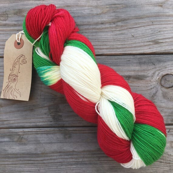 Candy Cane Self Striping, indie dyed soft 75/25 merino nylon blend sock yarn