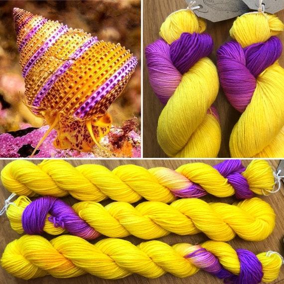 Purple Ring Top Snail, merino nylon sock yarn