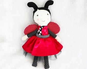 Ladybug cloth doll - softie toy - rag doll