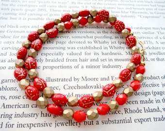 Ladybird Necklace Czech Beads Pressed Glass Bug Jewelry All Around Necklace Insect Jewellery Gift For Women Easy to Wear Beaded Necklace