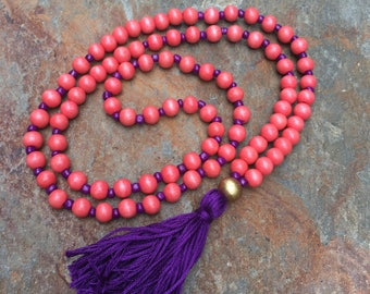 Long Beaded tassel necklace purple orange wood beaded necklace Bohemian necklace boho necklace jewelry Game Day accessories women's necklace