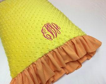 Yellow Pillowcase made with Orange and White Polka Dot Ruffles