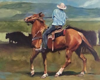 "Original Cowboy Painting, Western Art, Cowboy Painting, 18""x24"""