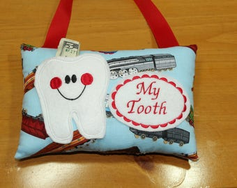Personalized Tooth Fairy Pillow - Gift for Boys - Kindergarten Gift - Tooth Fairy Pillow - Faiy Dust - Train Pillow - Pocket Pillow
