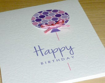 Girls Happy Birthday card - pink purple balloon - 3rd 4th 5th 6th 7th 8th 9th 10th -  handmade greeting card -