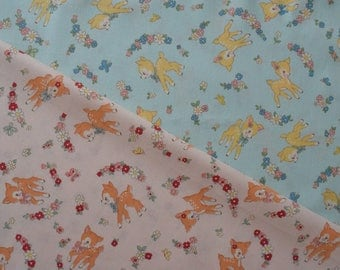 "Fat Quarter Bundle of Yuwa Atsuko Matsuyama 30s Collection Bambi and Floral in Light Salmon and Pastel Blue. Approx. 18"" x 22"""