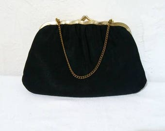 Black Evening Bag with Gold Trim and Handle, Vintage Mid-Century