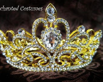 Beautiful gold crown with rhinestones for an adult or child