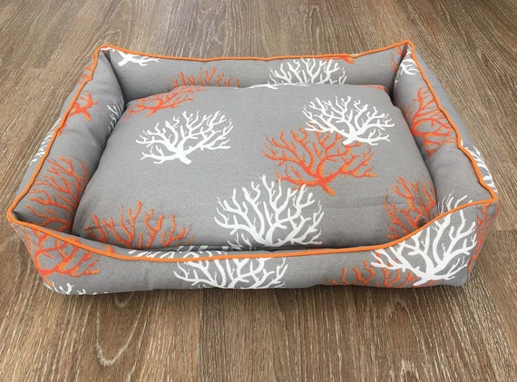 Dog Bed Lounge  - 'Sea Fan' design in Grey  Orange and White,  small pet bed (1 only)